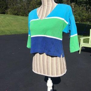 🌿80's Liz Crop Color Block Stripe Top